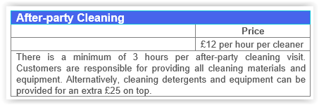 After party cleaning Canary Wharf prices.