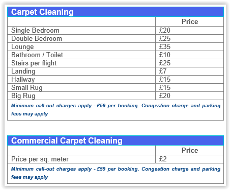 Carpet steam cleaning prices Canary Wharf