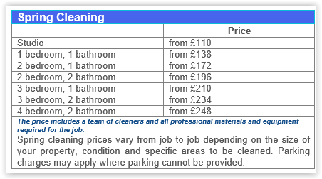 Spring Cleaning Prices Canary Wharf