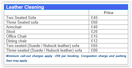 Leather cleaning prices Canary Wharf